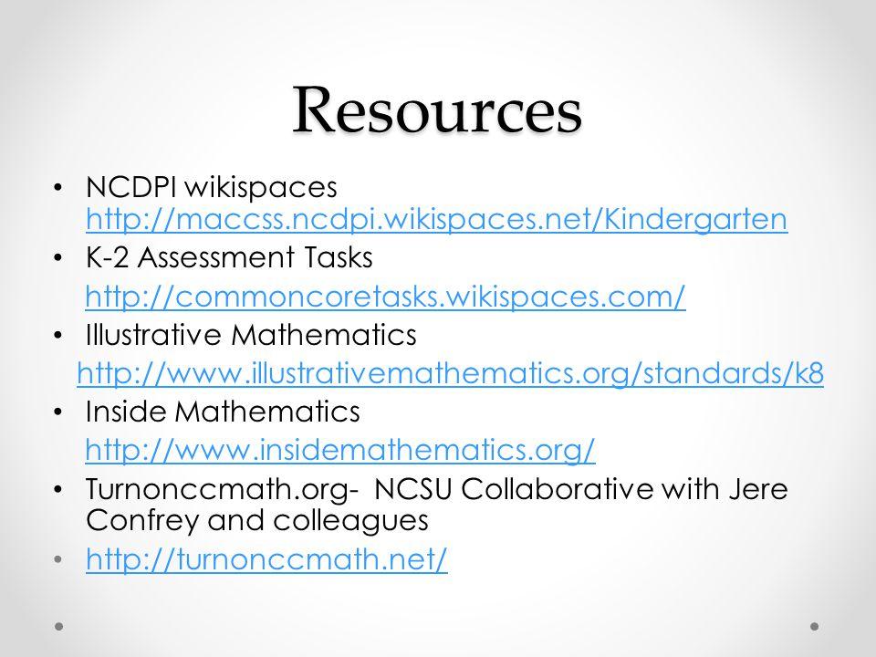 Resources NCDPI wikispaces http://maccss.ncdpi.wikispaces.net/Kindergarten. K-2 Assessment Tasks. http://commoncoretasks.wikispaces.com/