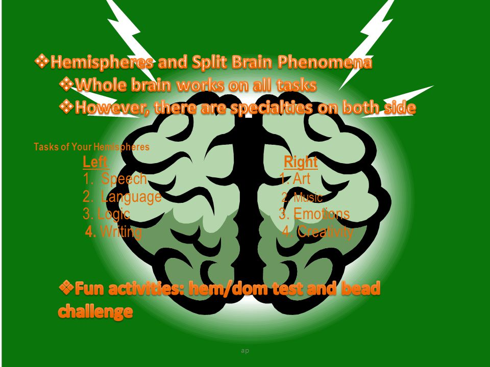 Hemispheres and Split Brain Phenomena Whole brain works on all tasks