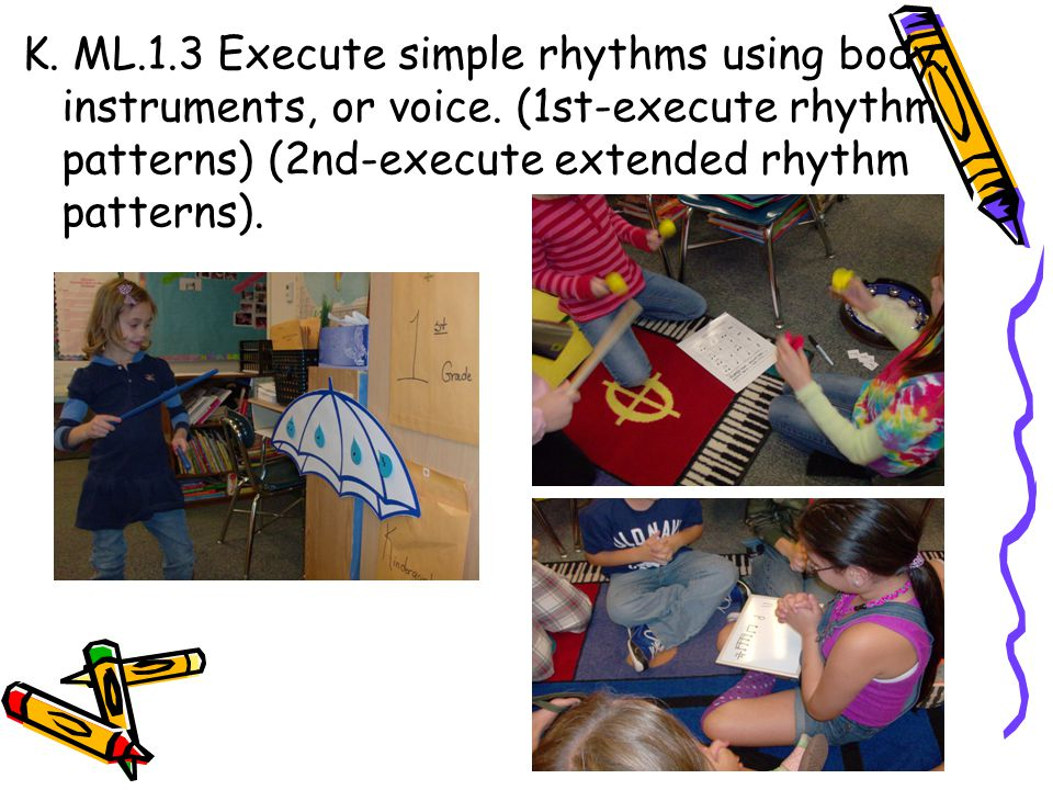 K. ML. 1. 3 Execute simple rhythms using body, instruments, or voice