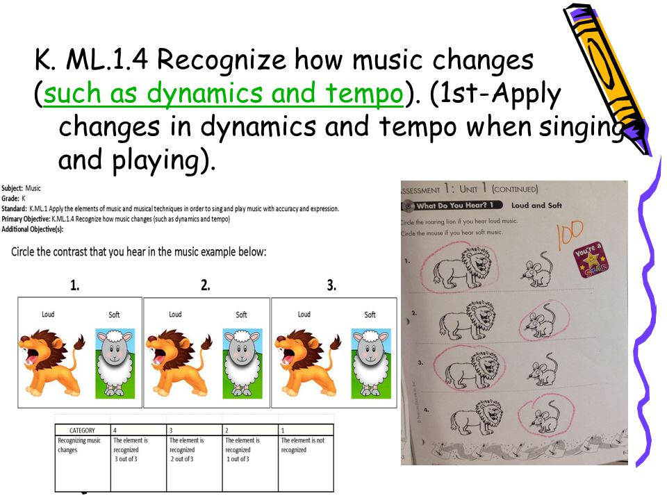 K. ML.1.4 Recognize how music changes