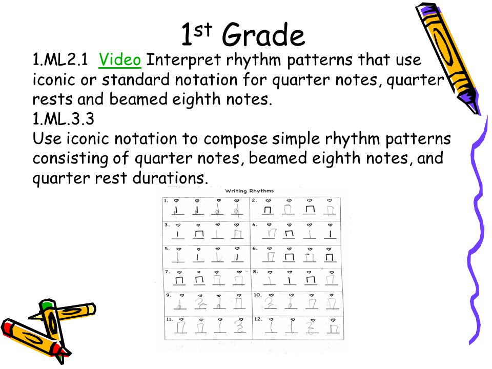 1st Grade 1.ML2.1 Video Interpret rhythm patterns that use iconic or standard notation for quarter notes, quarter rests and beamed eighth notes.