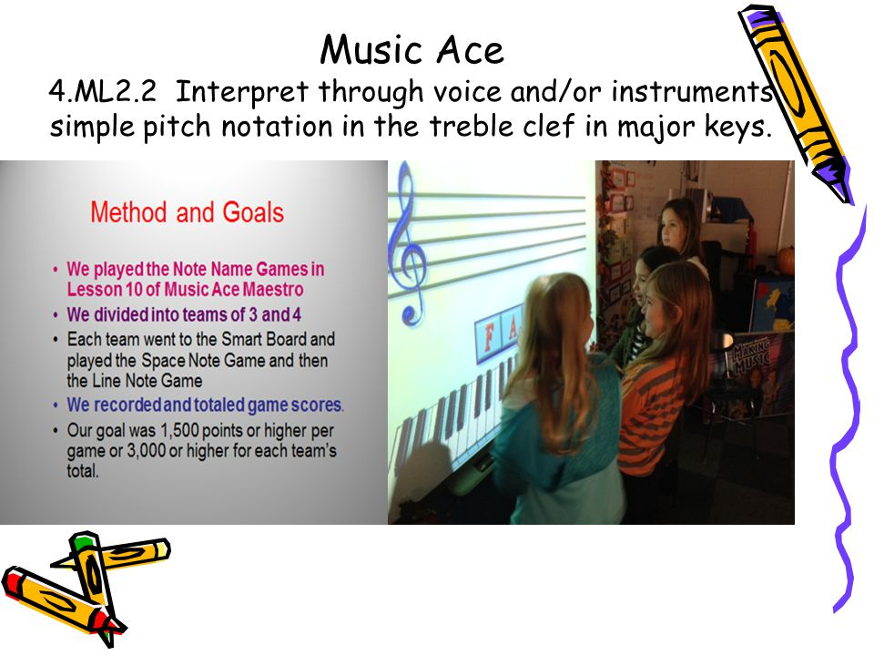 Music Ace 4.ML2.2 Interpret through voice and/or instruments simple pitch notation in the treble clef in major keys.
