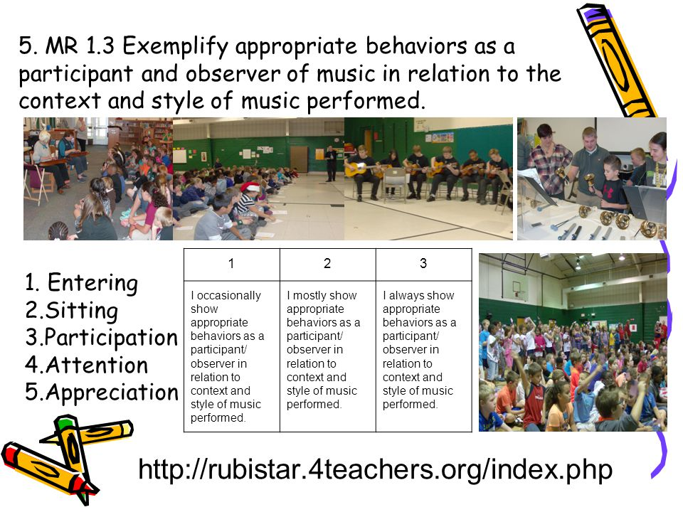 5. MR 1.3 Exemplify appropriate behaviors as a participant and observer of music in relation to the context and style of music performed.