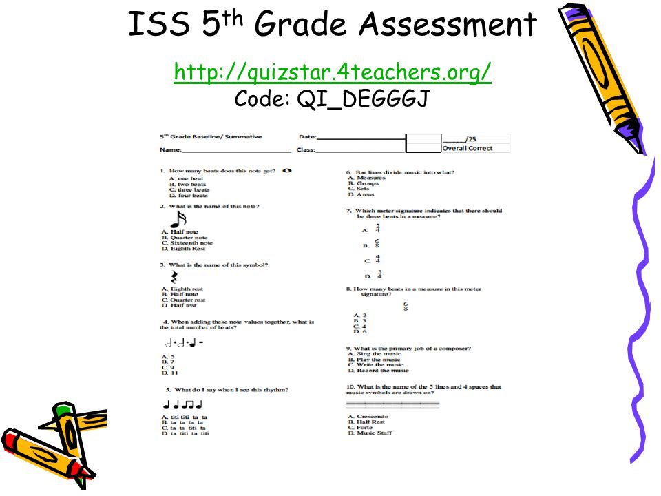 ISS 5th Grade Assessment