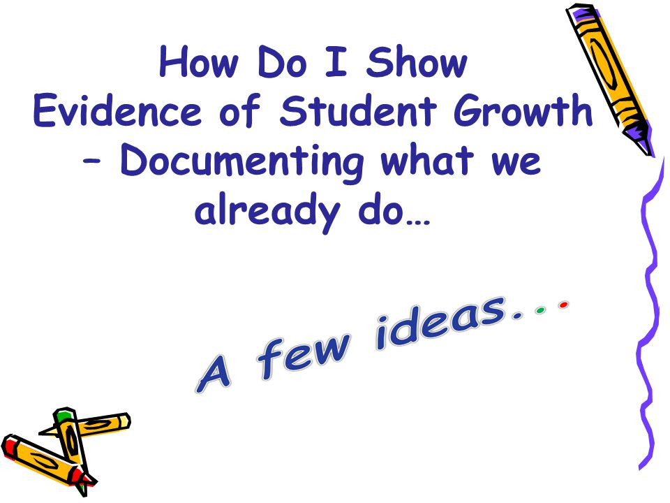 Evidence of Student Growth – Documenting what we already do…