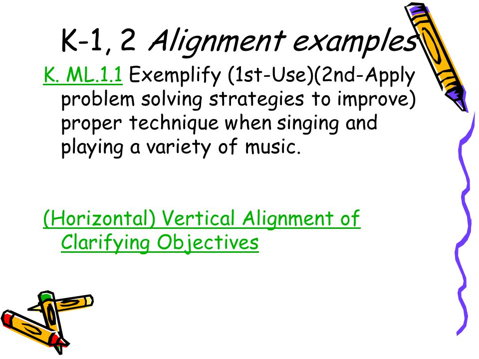 K-1, 2 Alignment examples