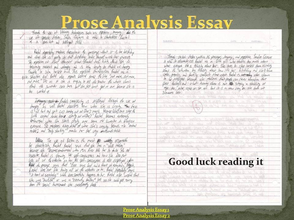 Prose Analysis Essay Good luck reading it Prose Analysis Essay 1