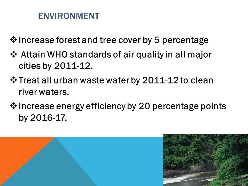 ENVIRONMENT Increase forest and tree cover by 5 percentage. Attain WHO standards of air quality in all major cities by 2011-12.
