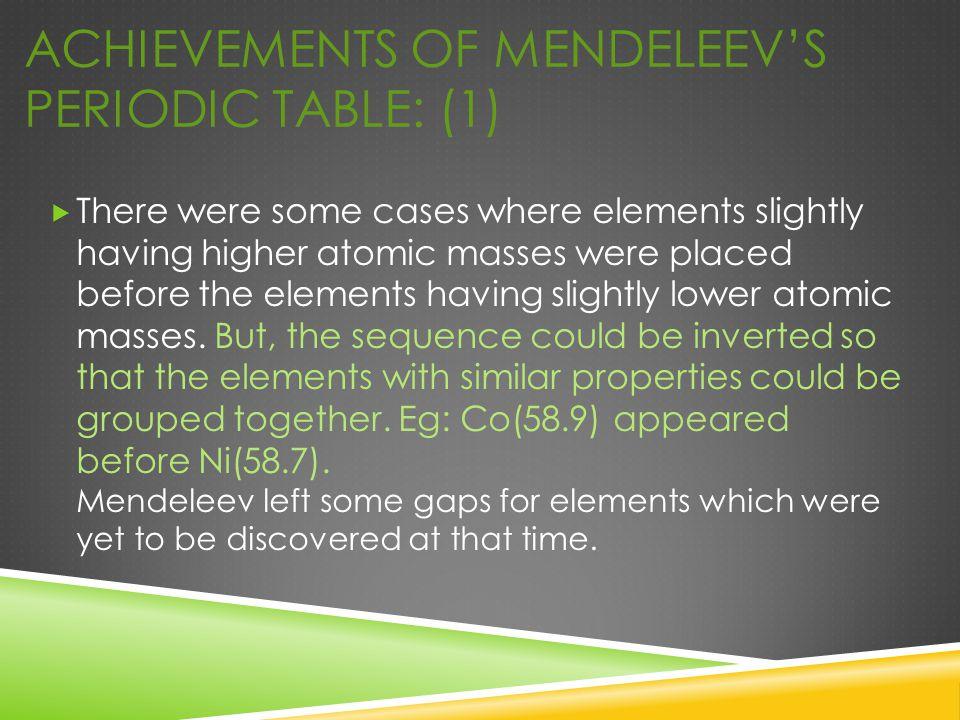 Achievements of Mendeleev's Periodic Table: (1)