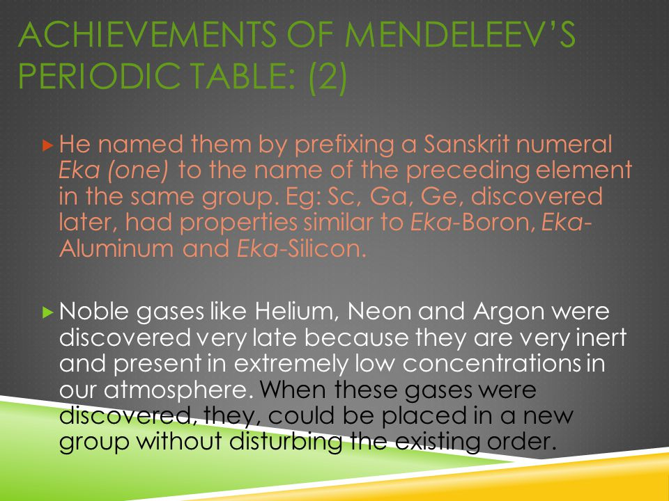 Achievements of Mendeleev's Periodic Table: (2)