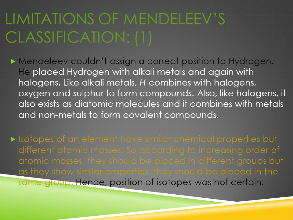Limitations of Mendeleev's Classification: (1)