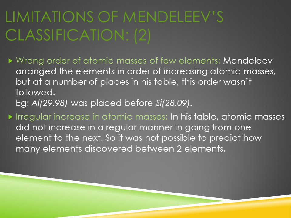 Limitations of Mendeleev's Classification: (2)