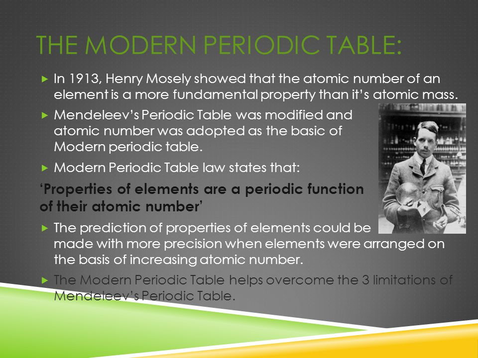 The Modern periodic table: