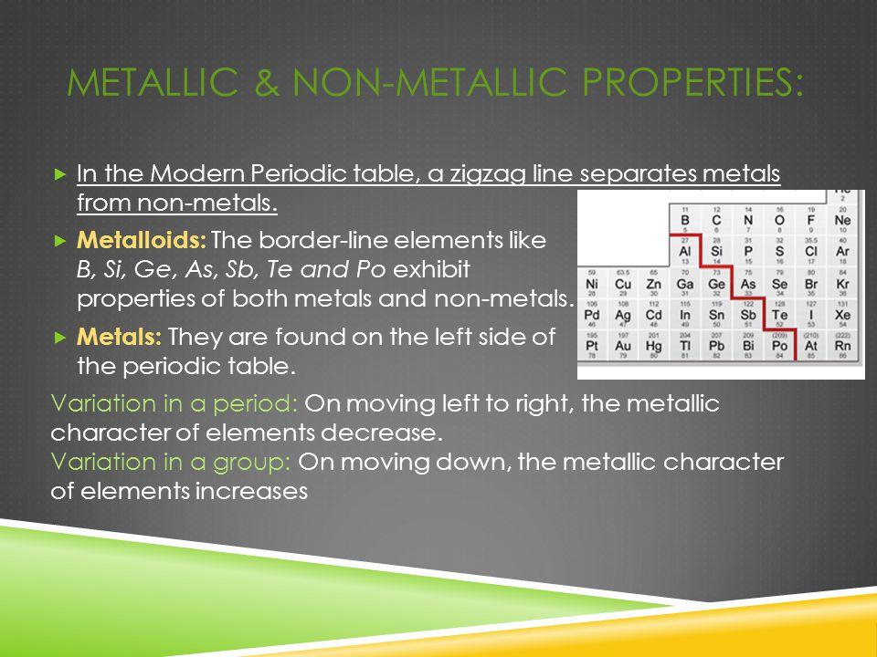 Metallic & Non-metallic properties:
