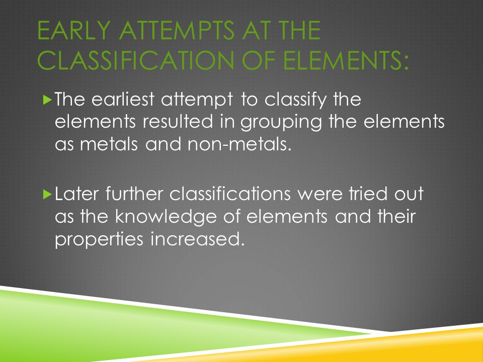 Early Attempts at the Classification of Elements: