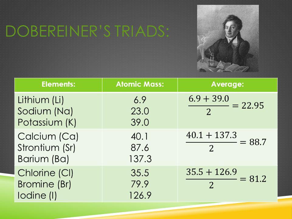 Dobereiner's Triads: Lithium (Li) Sodium (Na) Potassium (K) 6.9 23.0