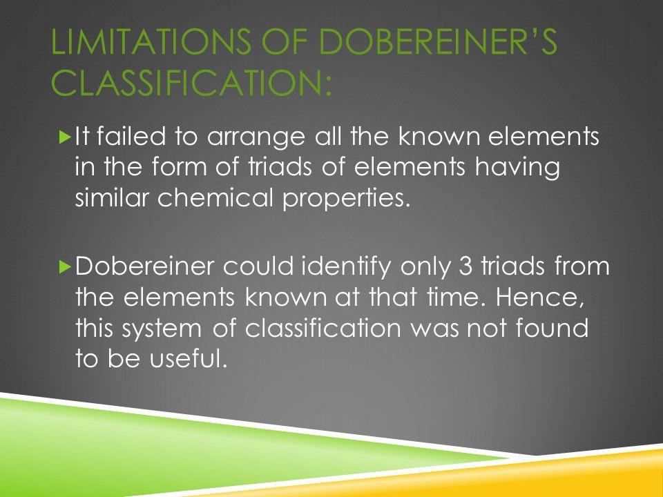 Limitations of Dobereiner's Classification: