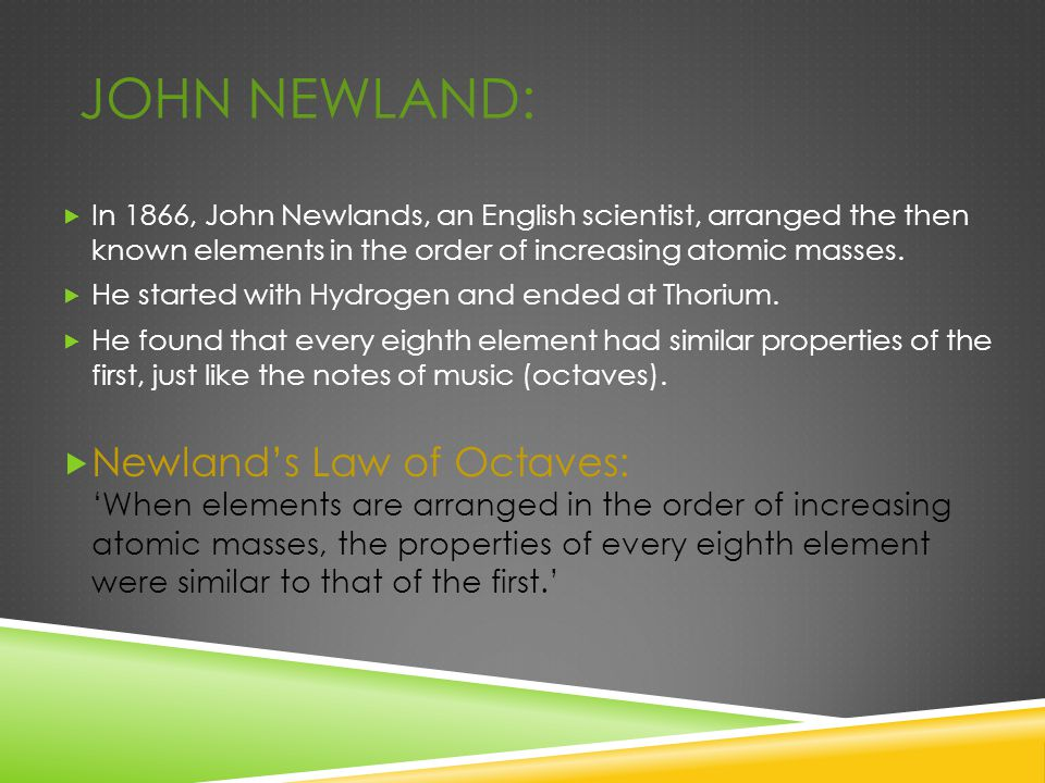 John Newland: In 1866, John Newlands, an English scientist, arranged the then known elements in the order of increasing atomic masses.