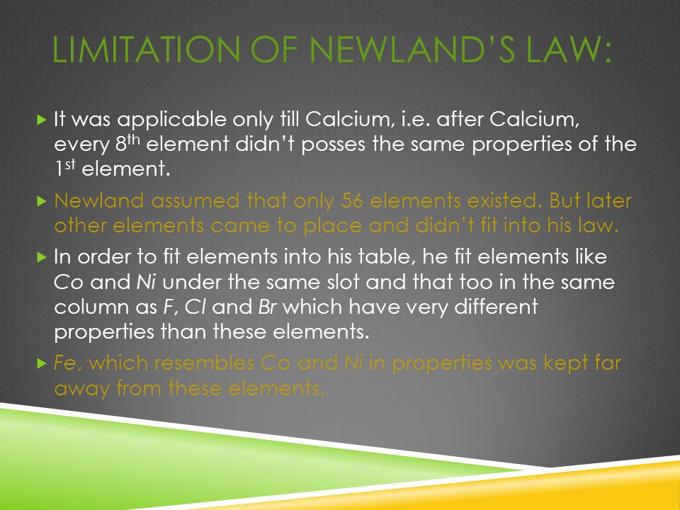 Limitation of Newland's law: