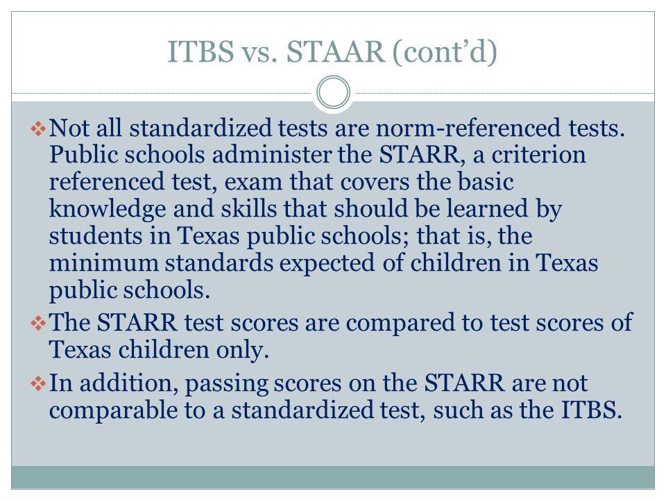 ITBS vs. STAAR (cont'd)