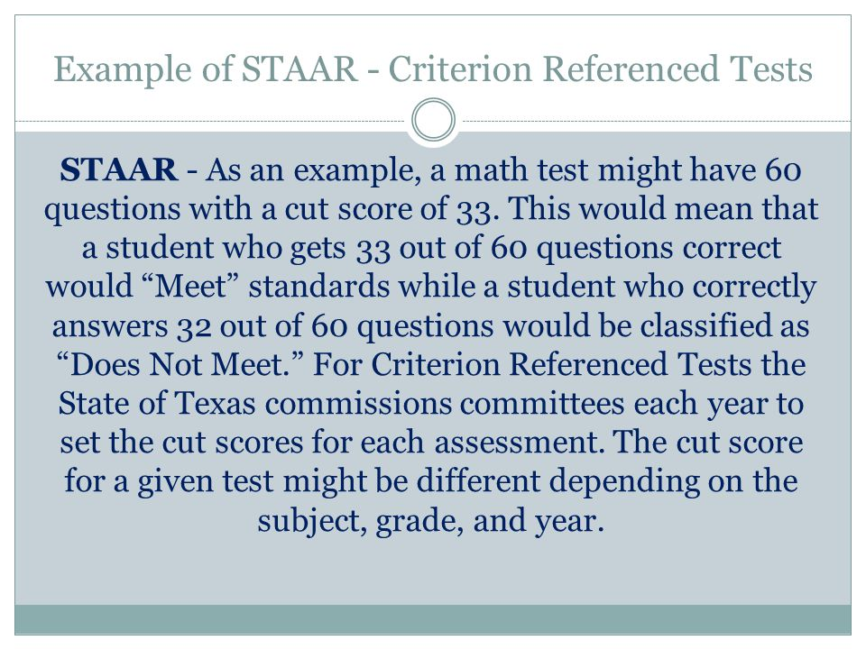 Example of STAAR - Criterion Referenced Tests