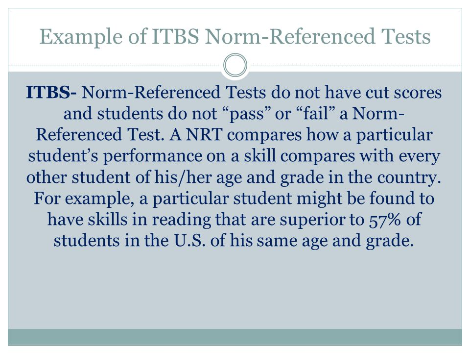 Example of ITBS Norm-Referenced Tests
