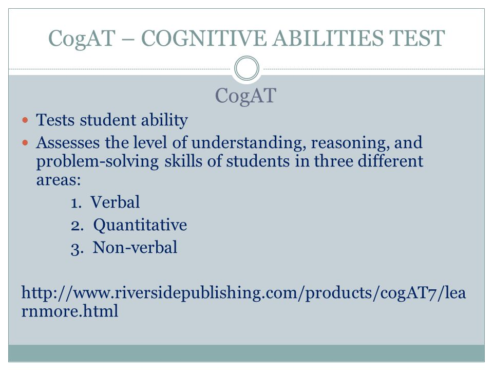 CogAT – COGNITIVE ABILITIES TEST