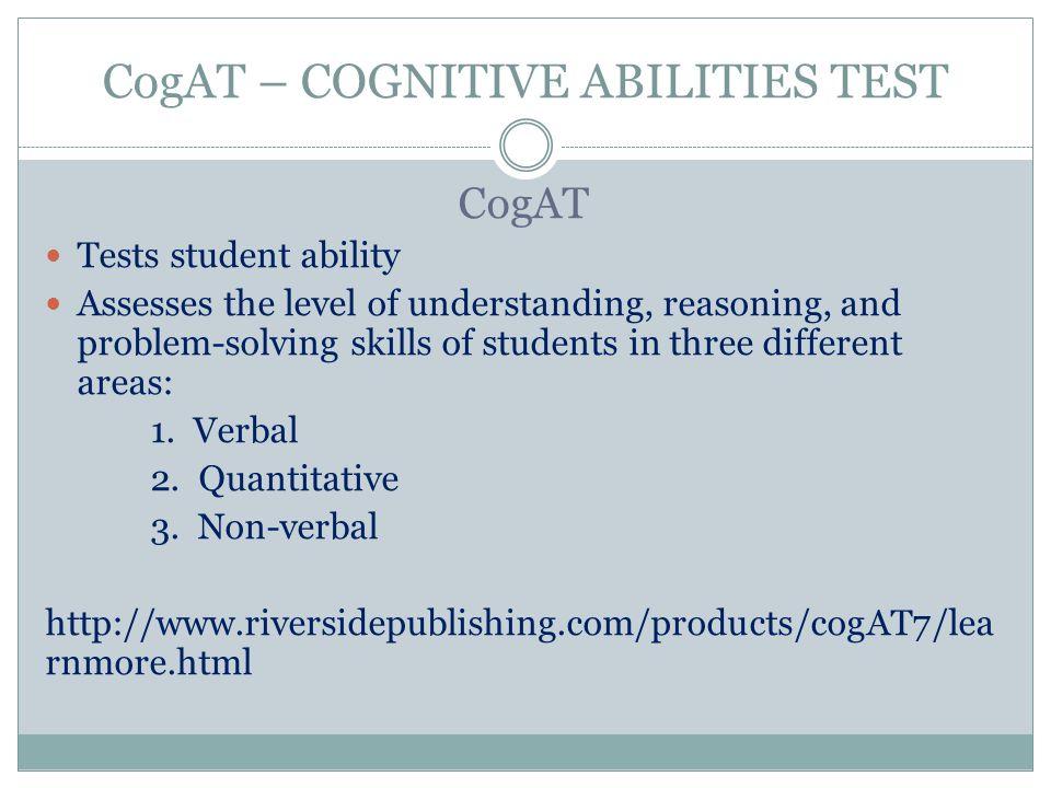 CogAT – COGNITIVE ABILITIES TEST