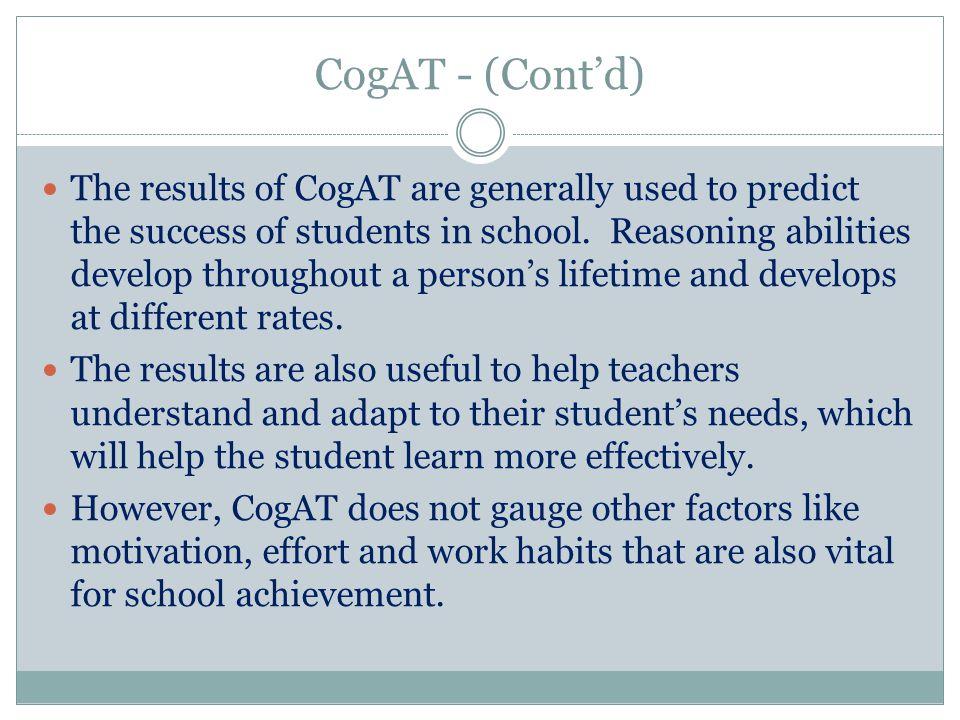 CogAT - (Cont'd)