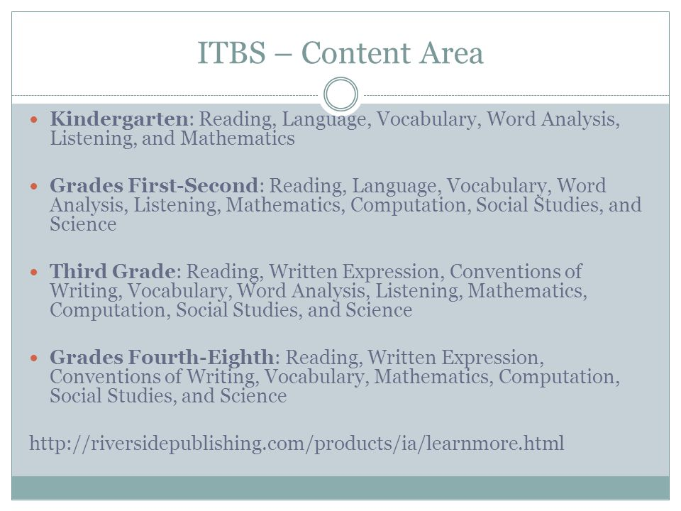 ITBS – Content Area Kindergarten: Reading, Language, Vocabulary, Word Analysis, Listening, and Mathematics.