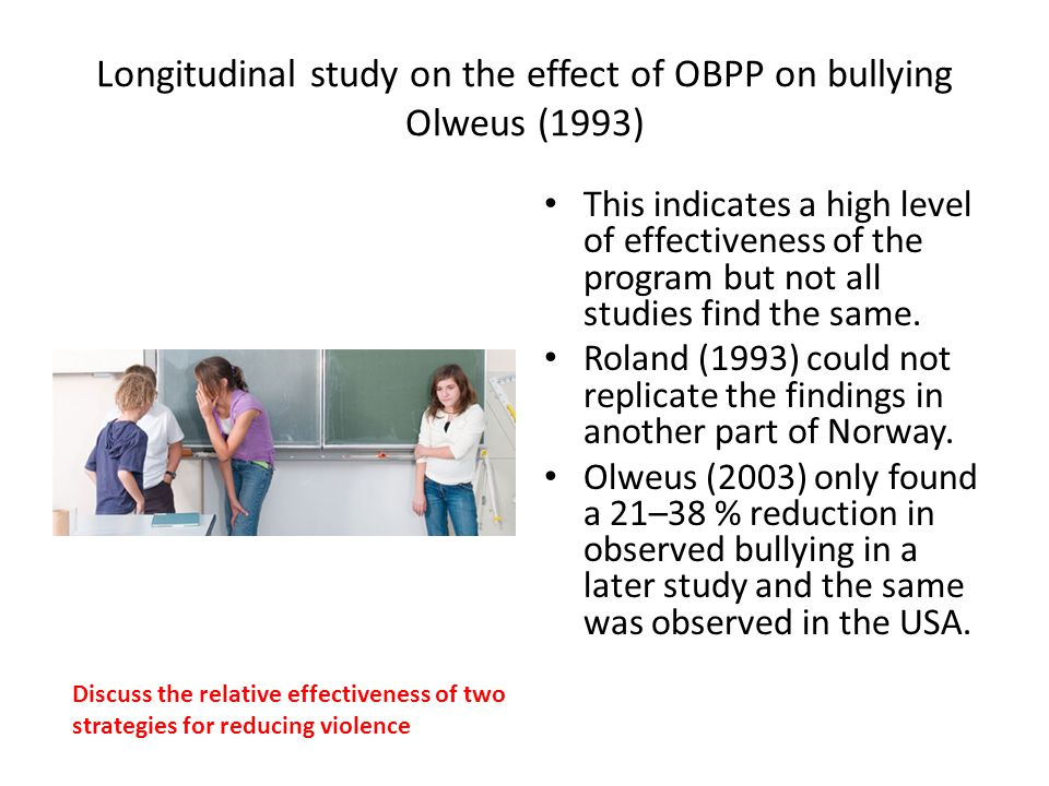 Longitudinal study on the effect of OBPP on bullying Olweus (1993)