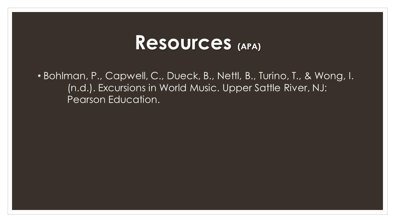 Resources (APA)
