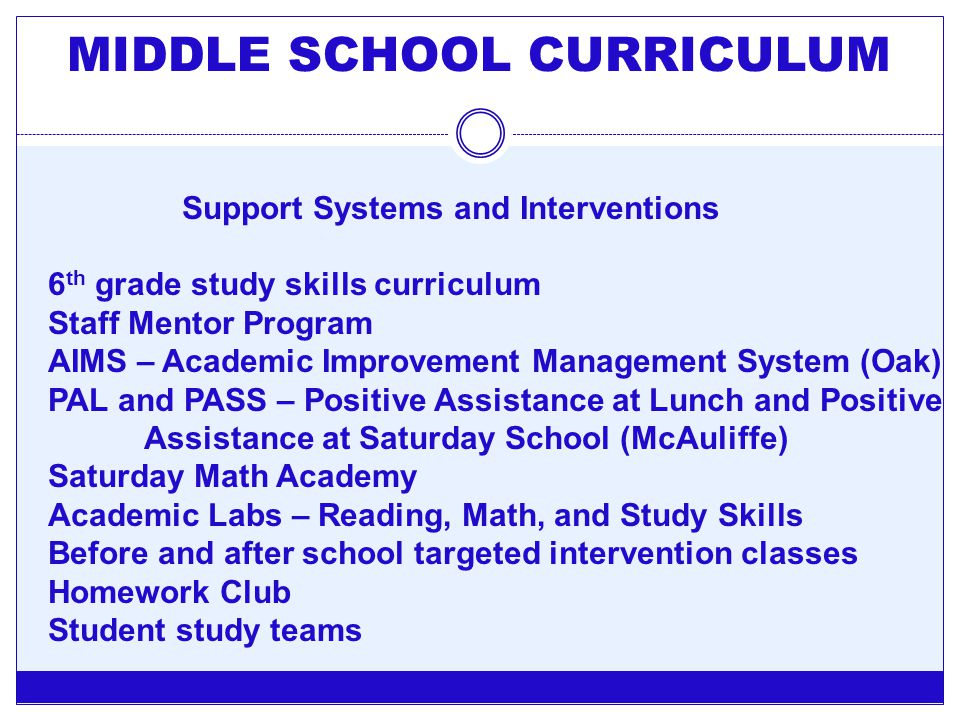 MIDDLE SCHOOL CURRICULUM Support Systems and Interventions