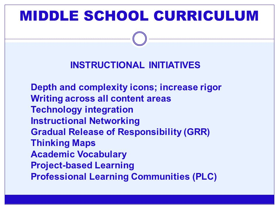 MIDDLE SCHOOL CURRICULUM INSTRUCTIONAL INITIATIVES