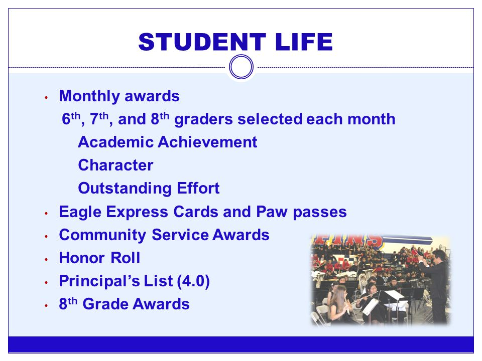 STUDENT LIFE Monthly awards