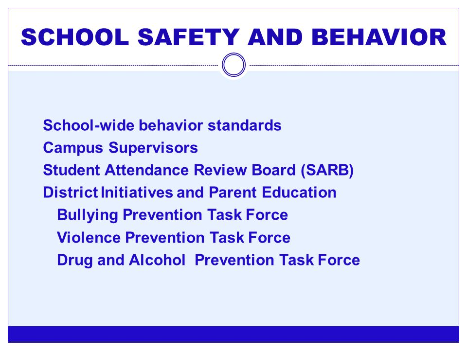 SCHOOL SAFETY AND BEHAVIOR