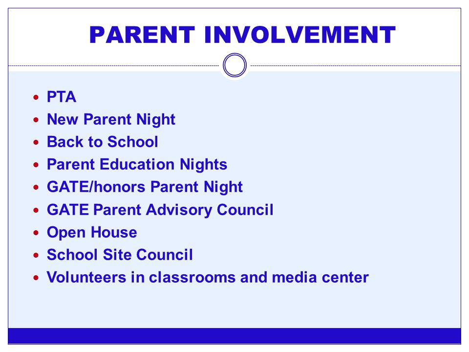 PARENT INVOLVEMENT PTA New Parent Night Back to School