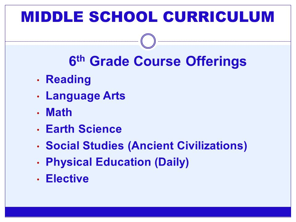 MIDDLE SCHOOL CURRICULUM 6th Grade Course Offerings
