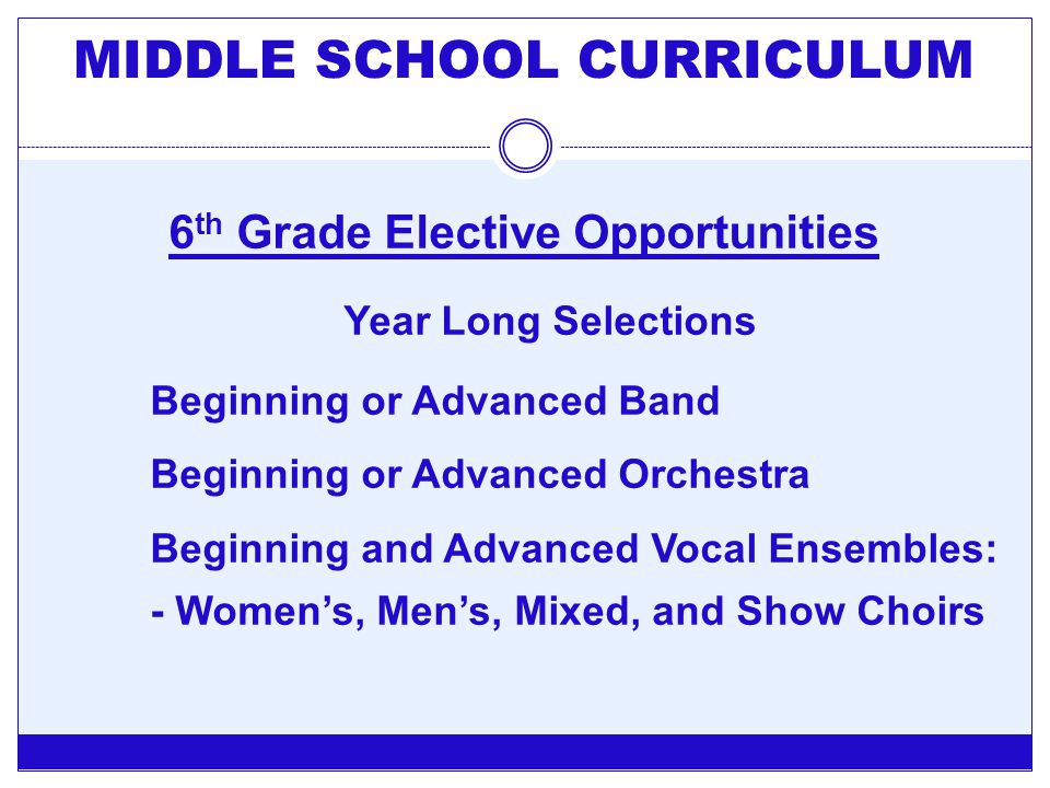 MIDDLE SCHOOL CURRICULUM 6th Grade Elective Opportunities