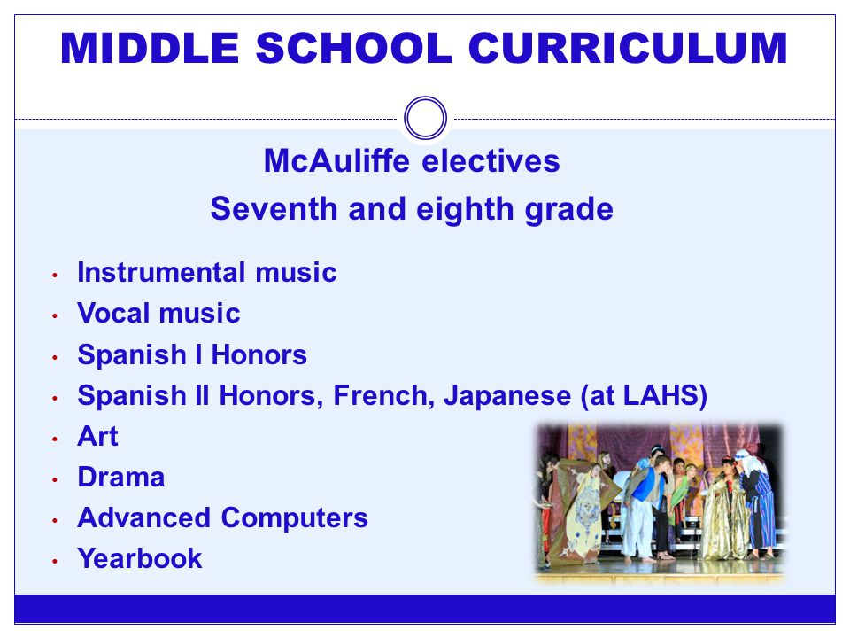 MIDDLE SCHOOL CURRICULUM Seventh and eighth grade