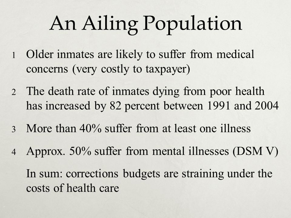 An Ailing Population Older inmates are likely to suffer from medical concerns (very costly to taxpayer)