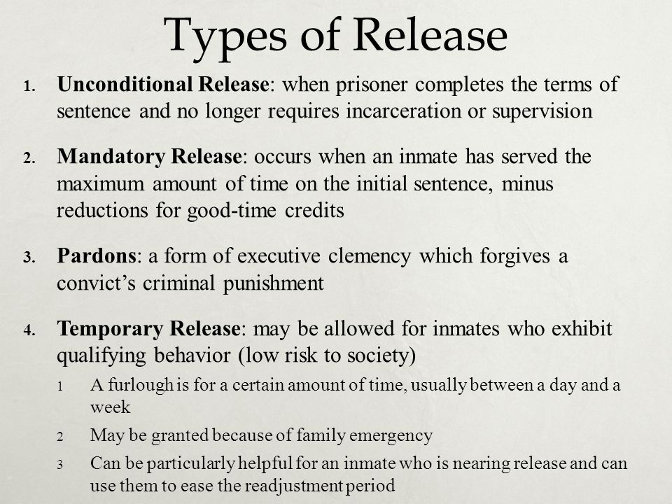 difference between mandatory parole and mandatory release What are mandatory minimum sentencing laws  with drug offenses and set mandatory minimum sentences for  in prison without parole if your.