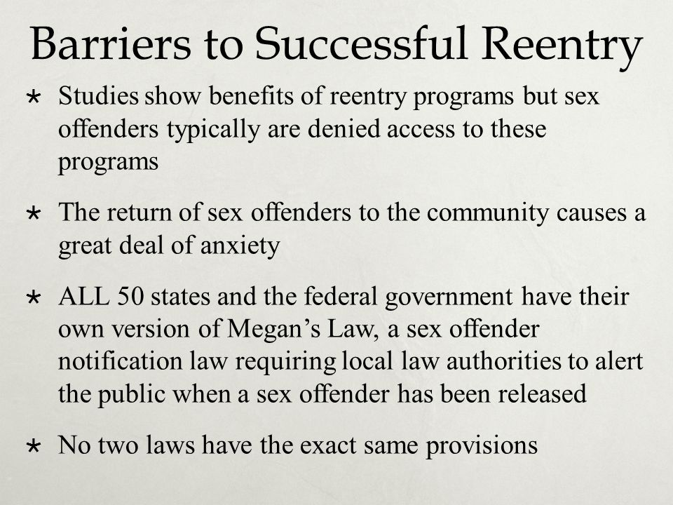 Barriers to Successful Reentry