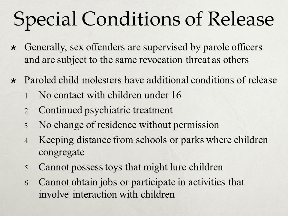 Special Conditions of Release