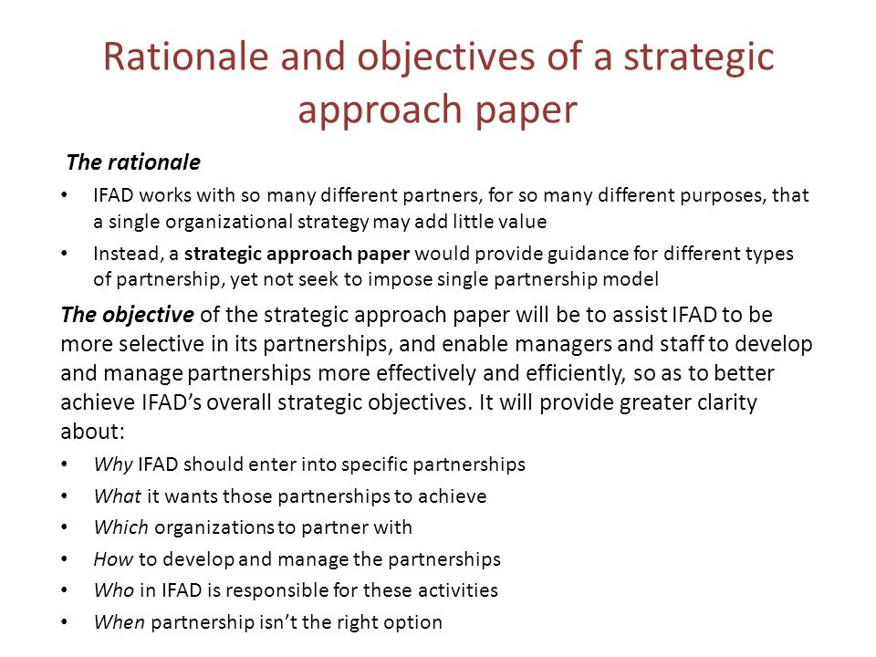 Rationale and objectives of a strategic approach paper