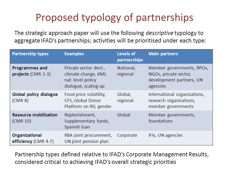 Proposed typology of partnerships