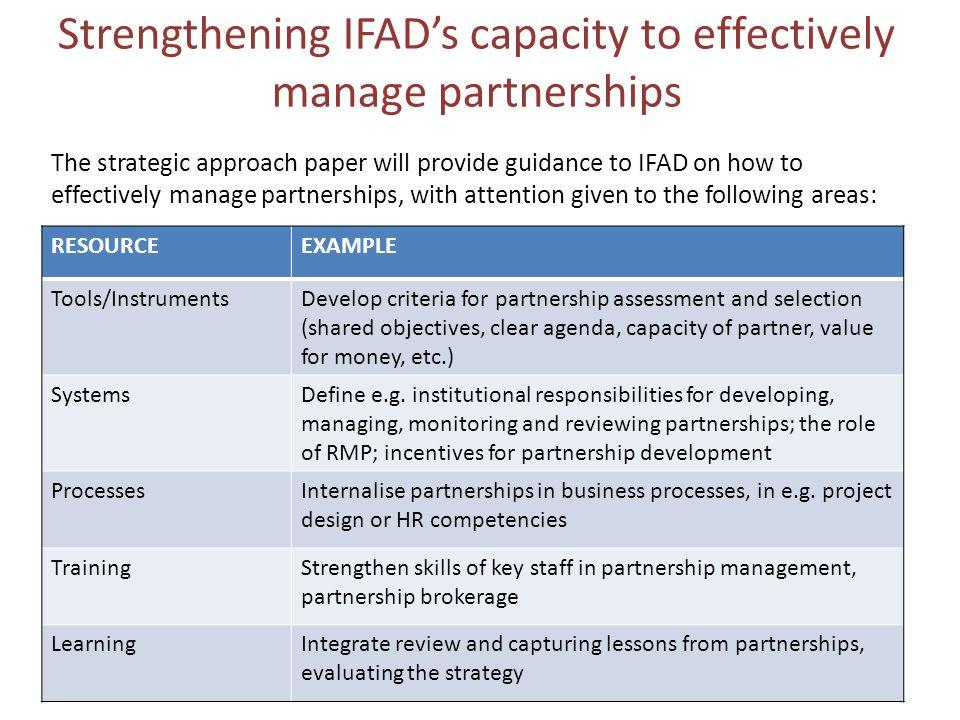 Strengthening IFAD's capacity to effectively manage partnerships