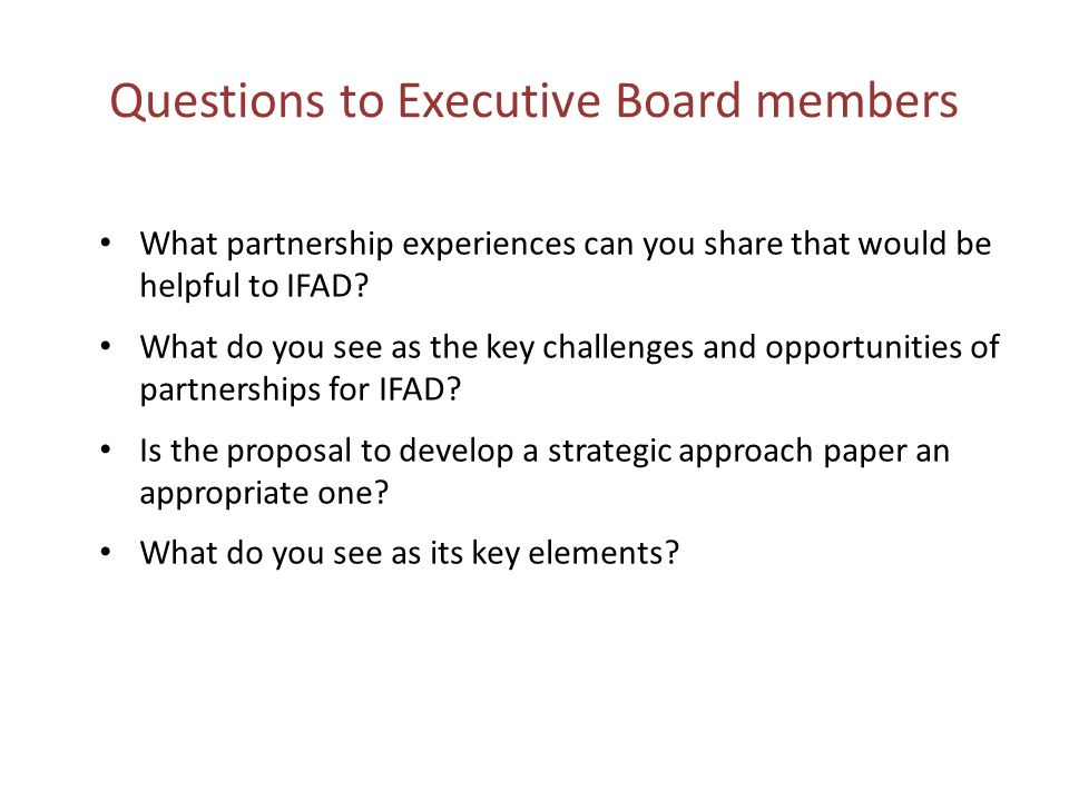 Questions to Executive Board members