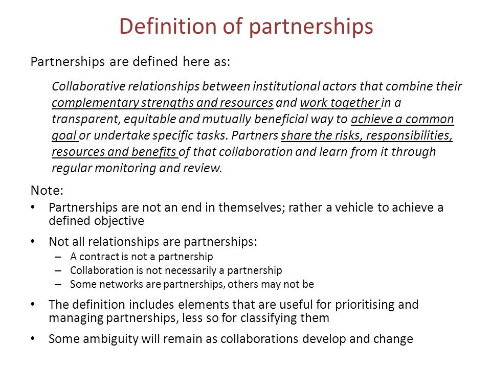 Definition of partnerships