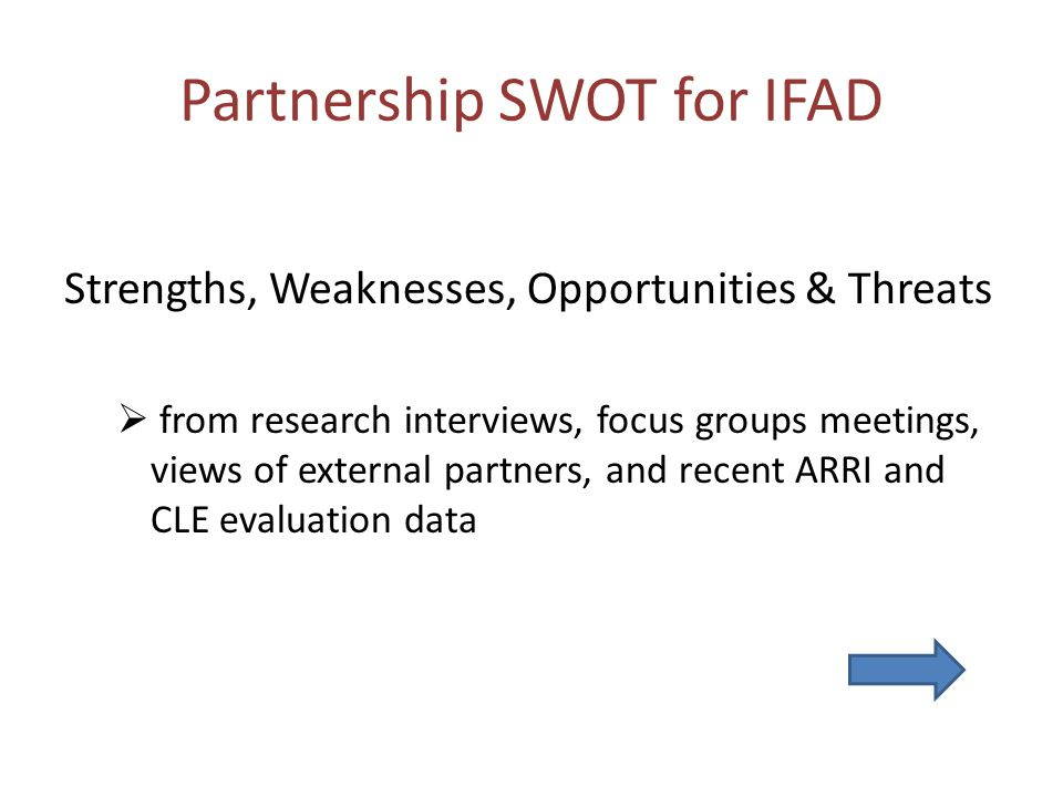 Partnership SWOT for IFAD